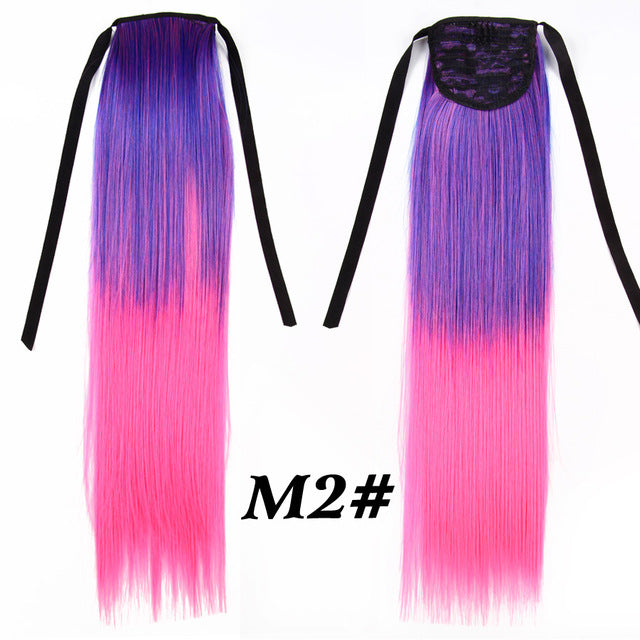 Long Straight Ombre 20 Inch 51cm Ponytail Hair Extensions Clip In