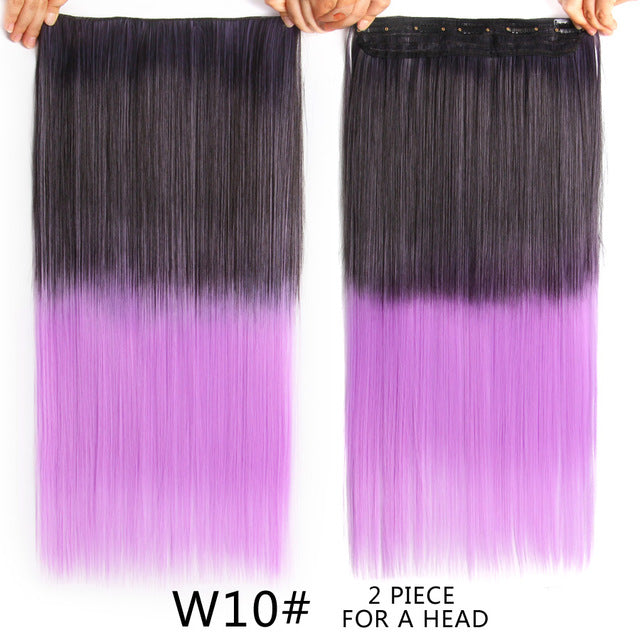 Long Straight Ombre 22 120g Clip In Hair Extensions Fake Hair Piece