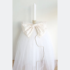 Sienna Lace Bow Girls Orthodox Christening Candle