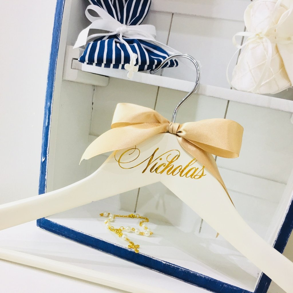 Personalised Wooden Coat Hanger Christening Gift