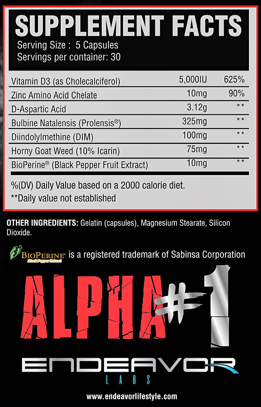 ALPHA #1 NATURAL TESTOSTERONE BOOSTER - 150 CAPSULES