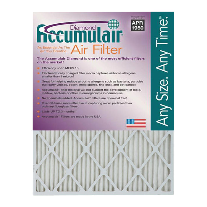 "Accumulair MERV 13 Diamond 1"" Furnace Filter, 4 Pack"