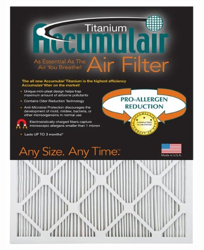"Accumulair MERV 13 Titanium 1"" HVAC Furnace Filter, 4 Pack"