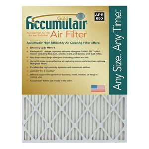 Accumulair MERV 8 Gold 1-Inch HVAC Furnace Filter, 4 Pack