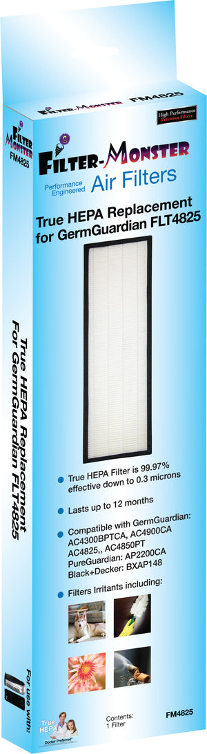Filter-Monster True HEPA Replacement for GermGuardian FLT4825 Filter Size B