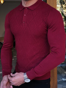 Harrison Slim Fit Collared Claret Red Polo Tees