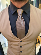 Load image into Gallery viewer, Shleton Slim Fit Blue & Camel Stripe Suit