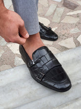 Load image into Gallery viewer, Harold Sardinelli Double Buckled Croc Detailed Black Shoes