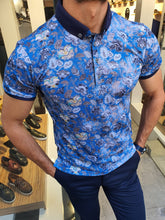 Load image into Gallery viewer, Jhon Slim Fit Sax Patterned Polo Tees