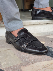 Harold Sardinelli Double Buckled Croc Detailed Black Shoes