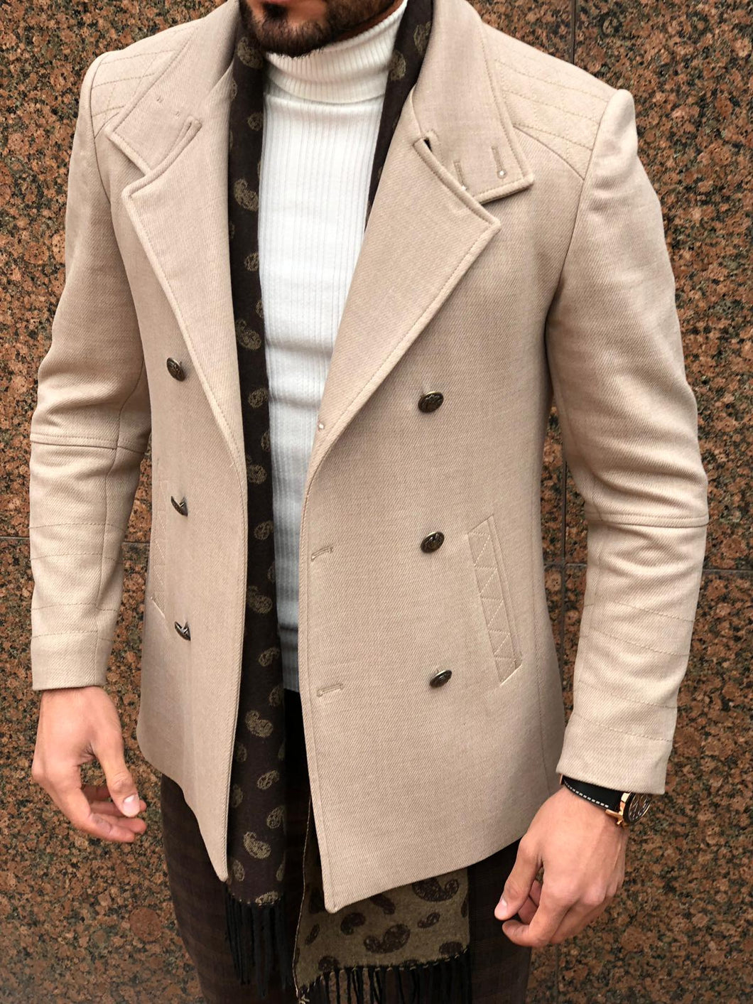 New Look Double Breasted Beige Coat