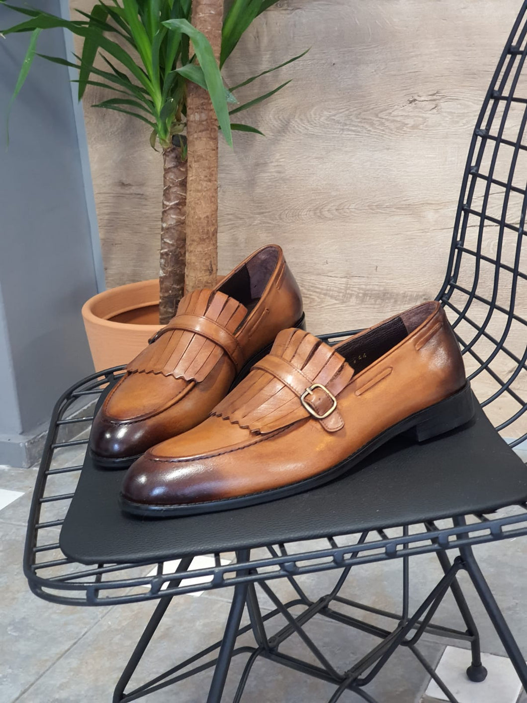 Erie Special Edition Sardinelli Buckle Detailed Tan Leather Shoes