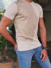 Load image into Gallery viewer, Jason Slim Fit Crew Neck Short Sleeve Beige Tees