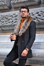 Load image into Gallery viewer, Jason Slim Fit Special Edition Double Breasted Black Woolen Coat
