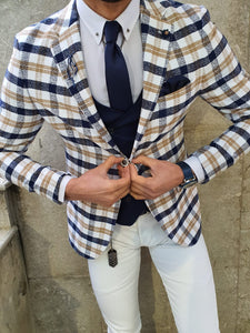 Genova Slim Fit White & Beige Plaid Suit