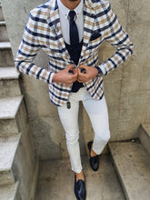 Load image into Gallery viewer, Genova Slim Fit White & Beige Plaid Suit