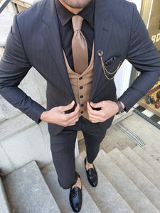 Shleton Slim Fit Blue & Camel Stripe Suit