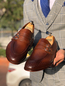 Lance Sardinelli Buckle Detailed Classic Tan Leather Shoes