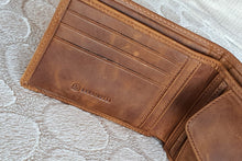 Load image into Gallery viewer, Sardinelli Hidden Card Section Tan Leather Wallet