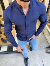 Load image into Gallery viewer, Jhon Slim Fit Indigo Cotton Shirt