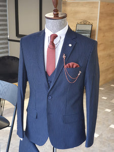 Ralph SLim Fit Navy Blue Striped Suit