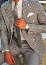 Load image into Gallery viewer, Verno Slim Fit Striped Double Breasted Grey & White Suit