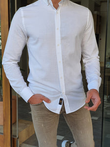 Moore Slim Fit Button Down White Shirt