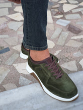 Load image into Gallery viewer, Jason Sardinelli Eva Sole Suede Laced Green Leather Shoes