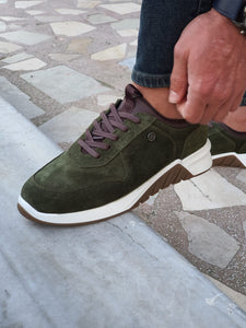 Jason Sardinelli Eva Sole Suede Laced Green Leather Shoes