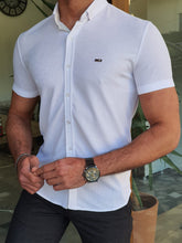 Load image into Gallery viewer, Vince Slim Fit Patterned Short Sleeve White Shirt