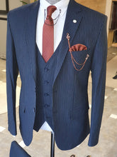 Load image into Gallery viewer, Ralph SLim Fit Navy Blue Striped Suit