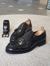 Load image into Gallery viewer, Ralpha Sardinelli Special Edition Double Buckle Croc. Leather Shoes