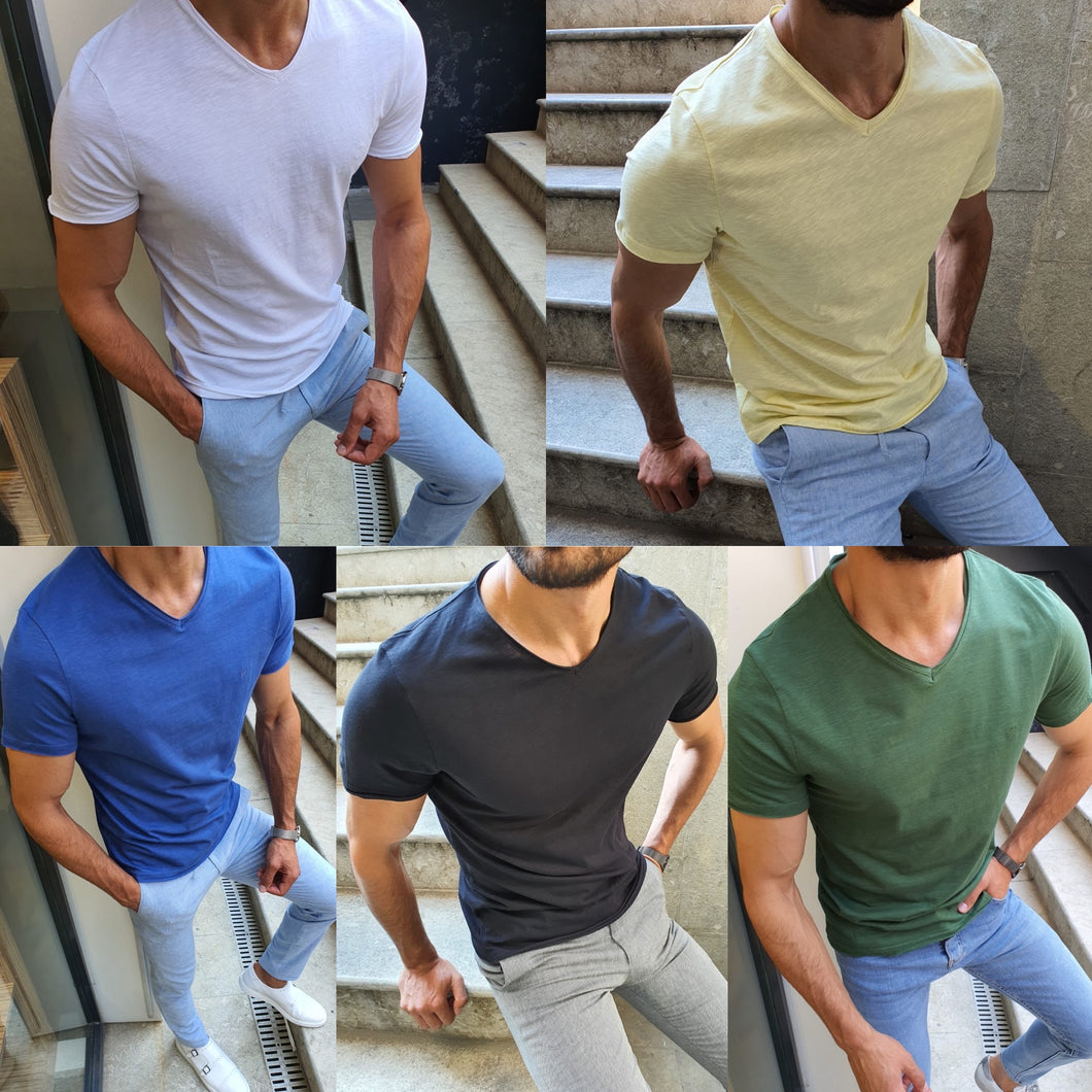 Jhon Slim Fit Short Sleeve Classic Tees (5 Colors)
