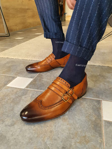 Verno Special Sardinelli Double Buckled Tan Leather Shoes