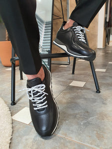 Logan Sardinelli Lace Up Black Sneakers