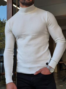 Harrison Slim Fit Half Ecru Turtleneck Knitwear