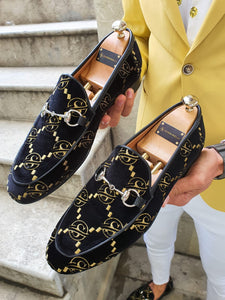 Genova Embroided Velvet Buckled Black Loafers