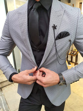 Load image into Gallery viewer, Verno Gray Slim Fit Patterned Suit