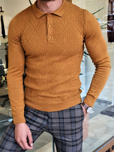 Load image into Gallery viewer, Mason Slim Fit Camel Polo Knitwear