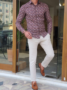 Vince Slim Fit Patterned Brown Cotton Shirt