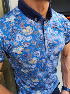 Jhon Slim Fit Sax Patterned Polo Tees