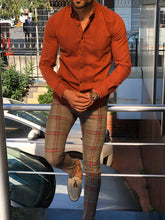 Load image into Gallery viewer, Marc Slim Fit Orange Patterned Shirt