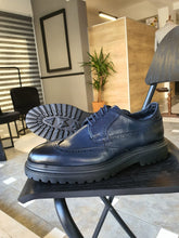 Load image into Gallery viewer, Erie Sardinelli Eva Sole Navy Blue Leather Shoes