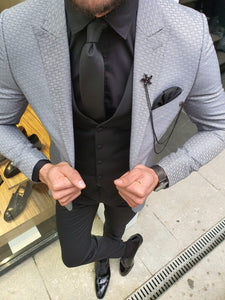 Verno Gray Slim Fit Patterned Suit