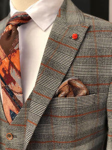 Abboud Gray Plaid Slim Suit