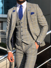 Load image into Gallery viewer, Lance Gray Slim Fit Plaid Suit