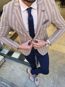 Shleton Slim Fit Beige Striped Blazer