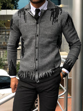 Load image into Gallery viewer, Marc Slim Fit Black Patterned Cardigan