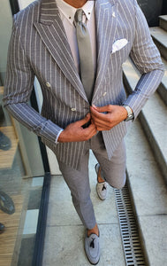 Verno Slim Fit Striped Double Breasted Grey & White Suit