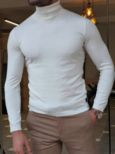 Load image into Gallery viewer, Harrison Slim Fit Ecru Turtleneck Woolen  Knitwear